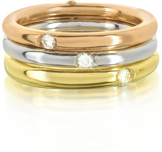 Bernard Delettrez 18K White, Yellow and Pink Gold Triple Secret Ring w/Diamonds