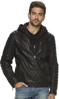 Marc Anthony Big & Tall Slim-Fit Hooded Faux-Leather Jacket
