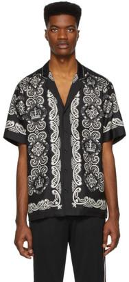 Dolce & Gabbana Black and White Silk Hawaiian Shirt