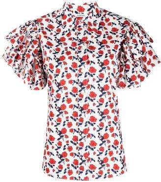 P.A.R.O.S.H. Ruffle-Sleeve Cotton Shirt