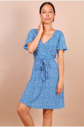 Lilura London Summer Blue Daisy Dot Wrap Front Mini Dress