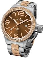 TW Steel Canteen Unisex Quartz Watch with Brown Dial Chronograph Display and Grey Stainless Steel Rose Gold Plated Bracelet CB153