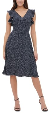 Tommy Hilfiger Dot-Print Double Twill Fit & Flare Dress