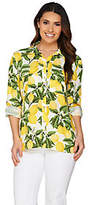 "C. Wonder Lemon Print Button Front ""Carrie"" Blouse"