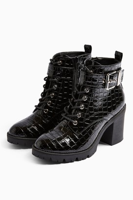 Topshop Womens Broadway Black Lace Up Boots - Black