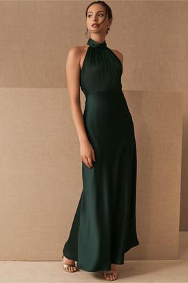 BHLDN Esme High Neck Satin Dress