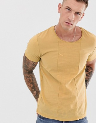 Jack and Jones crepe panel t-shirt in yellow-Brown