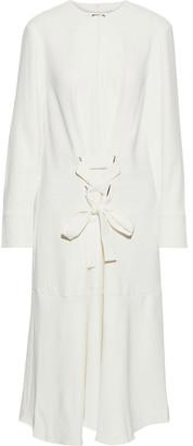 Tibi Lace-up Stretch-twill Midi Dress