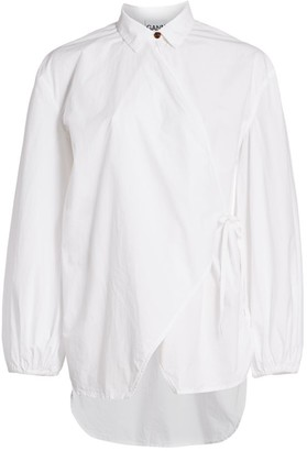 Ganni Oversized Cotton Poplin Wrap Shirt