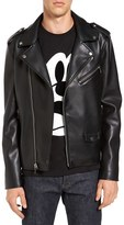 Black Rivet Men's Asymmetrical Faux Leather Moto Jacket