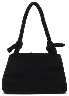 Kassl Editions Lady Knotted-strap Cotton-velvet Shoulder Bag - Black