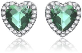 Collette Z Sterling Silver Green Cubic Zirconia Heart Earrings