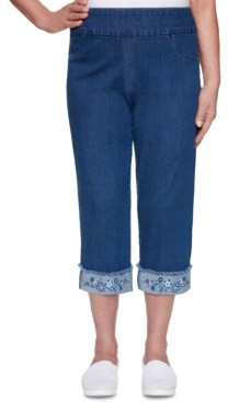 Alfred Dunner Petite Petal Pushers Embroidered Pull-On Jeans