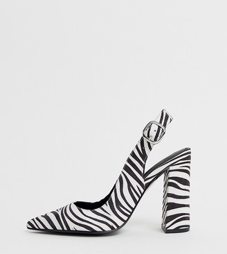 ASOS DESIGN Wide Fit Penley slingback high block heels in zebra print