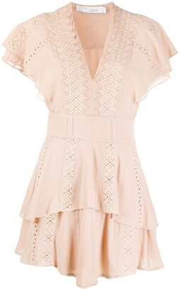 IRO Lace-Detail Ruffled Dress