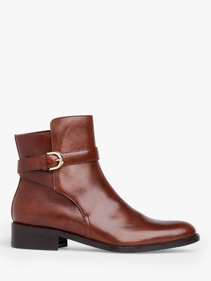 LK Bennett Annie Leather Flat Ankle Boots, Brown