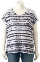 Gloria Vanderbilt Plus Size Striped Tie-Dye High-Low Tee