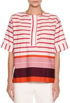 Piazza Sempione Striped Kimono Tunic Top, Plum/Multi