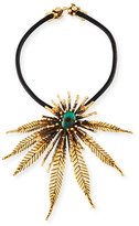 Lisa Eisner Jewelry Sculptural Leaf Necklace with Turquoise