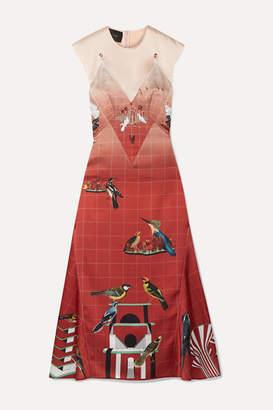 Cédric Charlier Layered Printed Satin Midi Dress - IT38