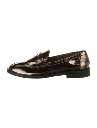 Pinch Design Patent Leather Loafers Brown