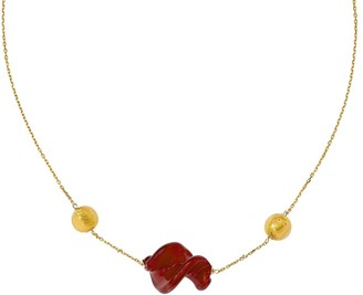 Murano Art Glass 14K Red & Gold Glass Bead Necklace