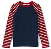 Lands' End Little Boys Stripe Sleeve Raglan-Rich Red Stripe