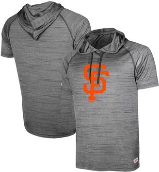 Stitches Men's Heathered Black San Francisco Giants Raglan Short Sleeve Pullover Hoodie
