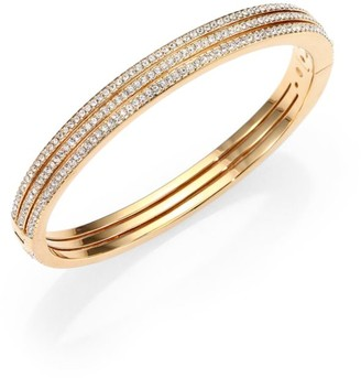 Adriana Orsini Goldtone Pave Crystal Three-Row Bangle Bracelet