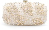 Oscar de la Renta Ivory & Champagne Embroidered Satin Goa Clutch