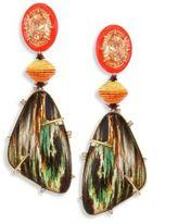 Alexis Bittar Lucite Large Crystal & Woodgrain Clip-On Earrings