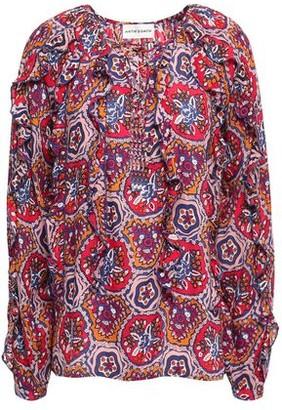 Antik Batik Sam Lace-up Ruffled Printed Voile Blouse