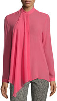 Etro Ruffle-Front Silk Georgette Blouse, Pink