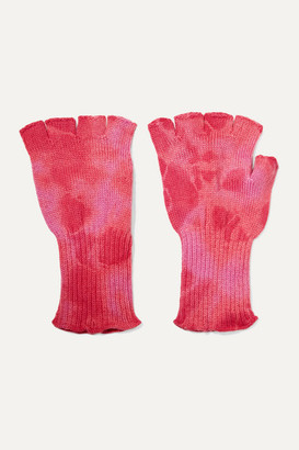 The Elder Statesman Tie-dyed Cashmere Fingerless Gloves - Pink