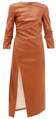 A.W.A.K.E. Mode Gathered Side-slit Faux-leather Dress - Mid Brown