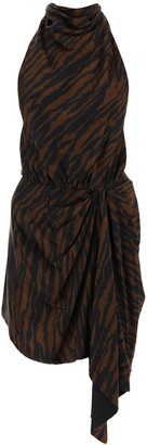 ATTICO Zebra Print Open-Back Dress