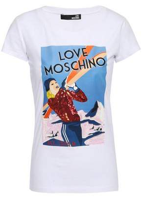Love Moschino Embellished Printed Stretch-cotton Jersey T-shirt