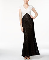 Calvin Klein Colorblocked Lace Gown