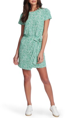 1 STATE Folk Silhouette Floral Tie Front Dress