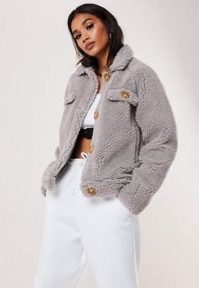 Missguided Tall Grey Crop Teddy Jacket