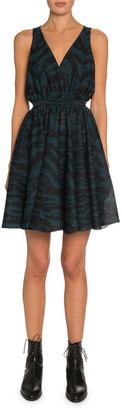 Alaia Zebra-Jacquard Sleeveless A-Line Dress