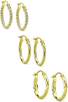 Giani Bernini 3-Pc. Set Hoop Earrings in 18k Gold-Plated Sterling Silver, Only at Macy's