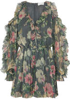 Zimmermann Iris Cold-shoulder Floral-print Silk-georgette Playsuit - Gray green
