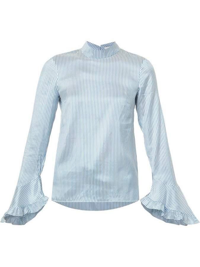 Erdem striped ruffled blouse