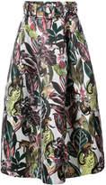 Oscar de la Renta belted leaf print midi skirt