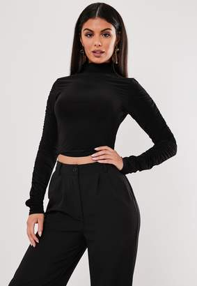 Missguided Petite Black Ruched Sleeve Crop Top