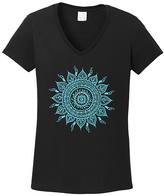 Black & Aqua Geometric Sun V-Neck Tee
