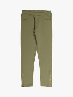 Polarn O. Pyret Children's GOTS Organic Cotton Zip Jersey Leggings, Olive