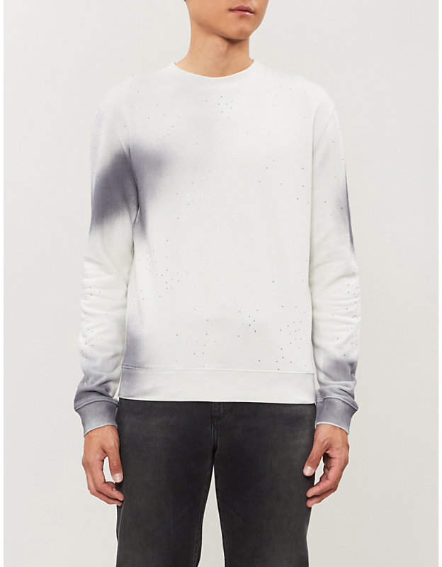 Off-White Spray crystal-embellished cotton-jersey sweatshirt