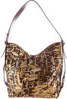 Oscar de la Renta Embellished Suede Shoulder Bag